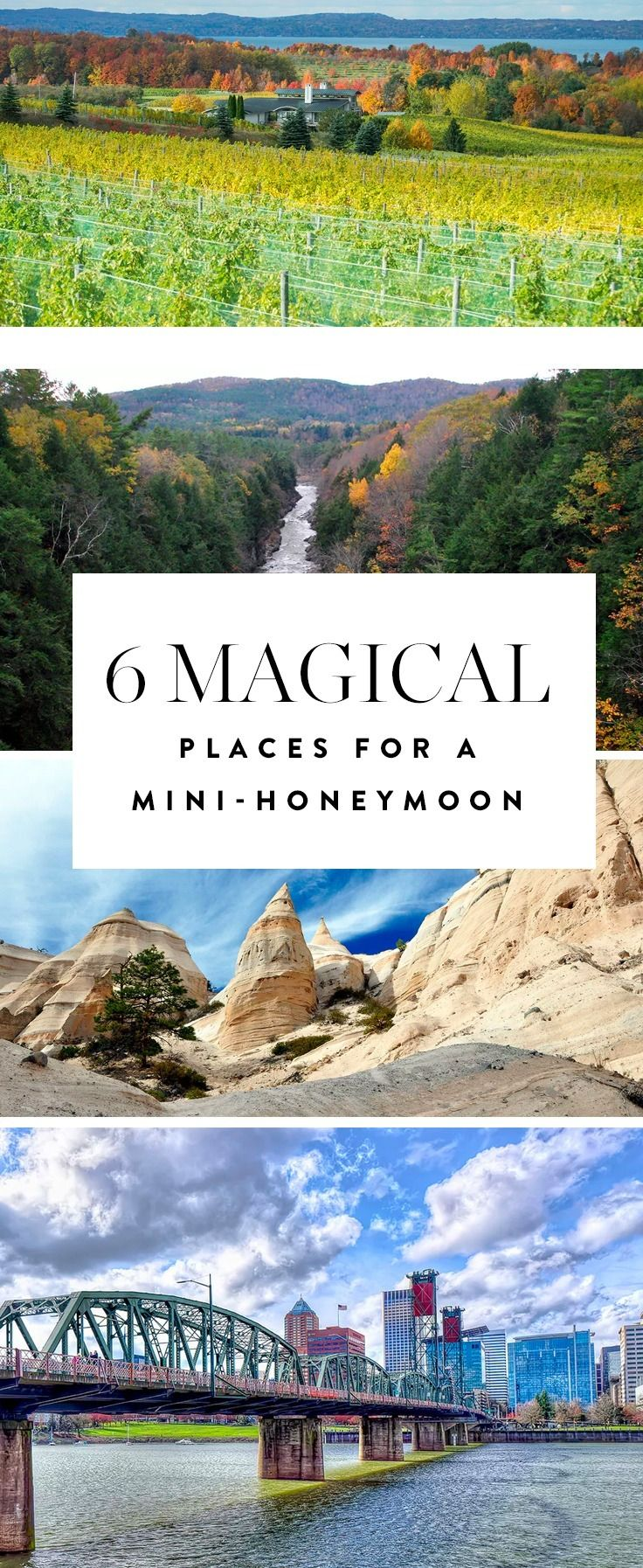 Introducing mini-moons: short getaways that don't eat up as much time or money as traditional post-wedding trips. Intrigued? Consider these 6 spots in the U.S. that are perfect for this sort of thing.