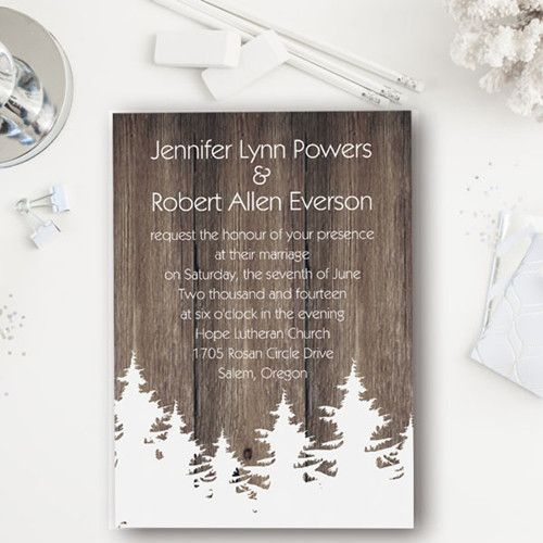 Christmas tree inspired rustic winter wedding invitations EWI366 #rusticwedding #weddinginvitations #elegantweddinginvites