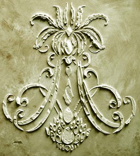 Plaster Stencil Royal Anne Reminiscent of a fine chandelier, this stencil design's  unique shape adds something truly different to your home.  Plaster Stencil it surround your light fixture on the ceiling, use it as a central stenciled design on doorways, fireplaces, backsplash areas. Stencil it with standard paint in the center and corners of an area rug. The ideas are endless! http://victorialarsen.com/plaster_stencil_royal_anne.html