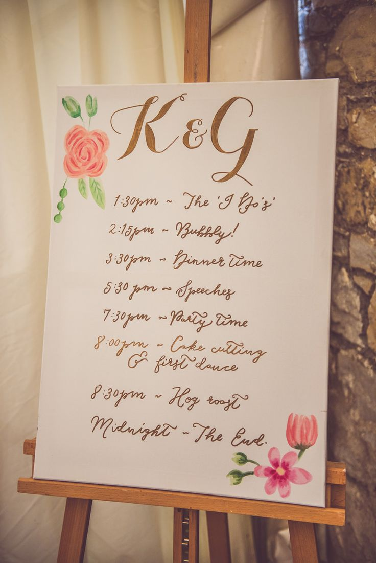Floral Order of The Day Wedding Sign | Whimsical Barn Wedding in Wales | Pink & Gold Colour Scheme | Rustic DIY Decor | Images by Nick Murray Photography | http://www.rockmywedding.co.uk/kristy-george/