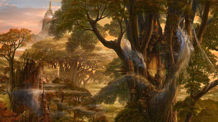 замок, ucchiey, фэнтези, фантастика, Арт, kazamasa uchio, деревья