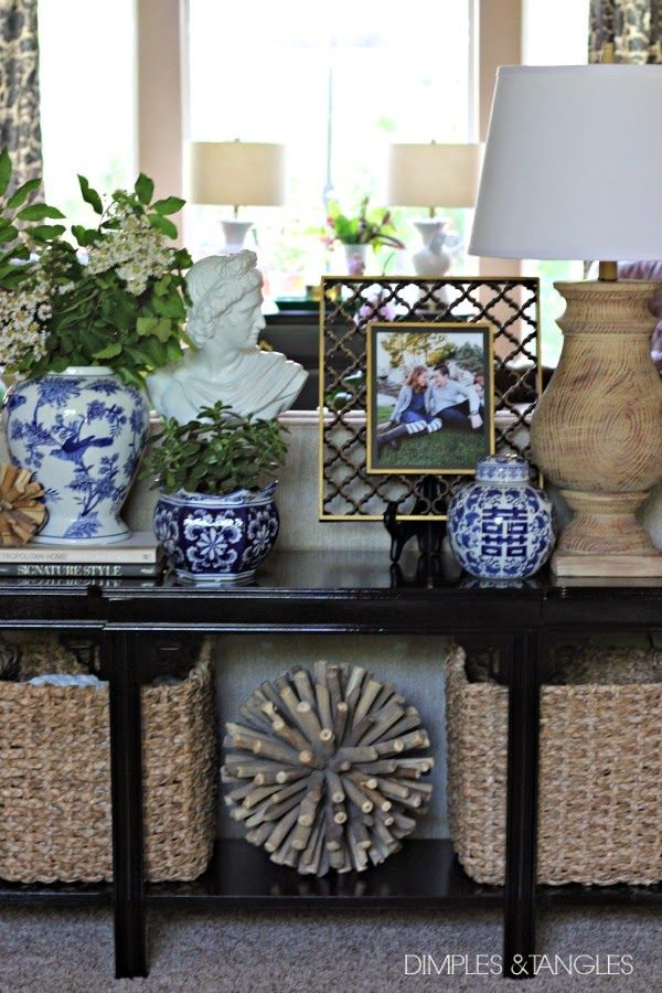 sofa table makeover, rustoleum gloss black enamel paint, sofa table styling, blue and white, natural texture