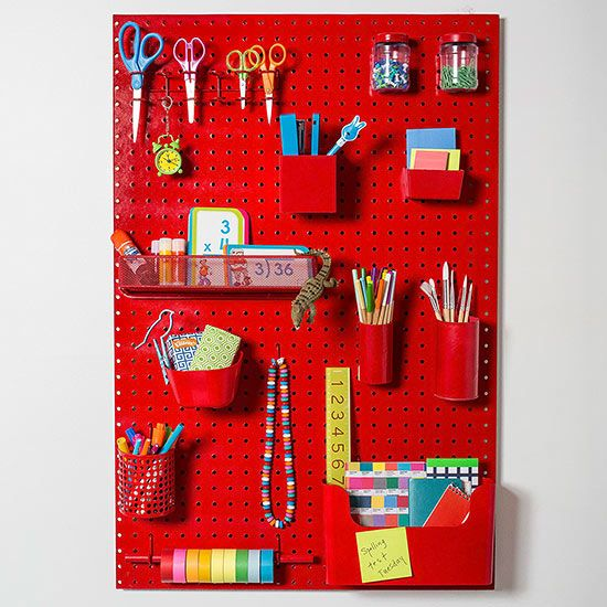 Help your child streamline her homework and craft routine with an organized pegboard catchall. Click for step-by-step instructions!