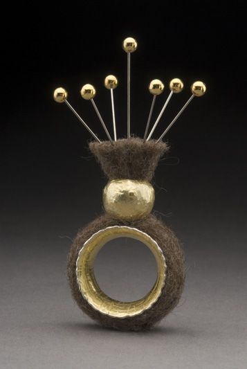Ring   Juan Carlos Cabailero-Perez. 18k gold, sterling silver, felt and stainless steel pins.