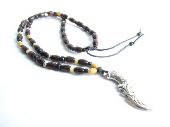 Dagger necklace men wooden necklace wood beaded by Bravemenjewelry