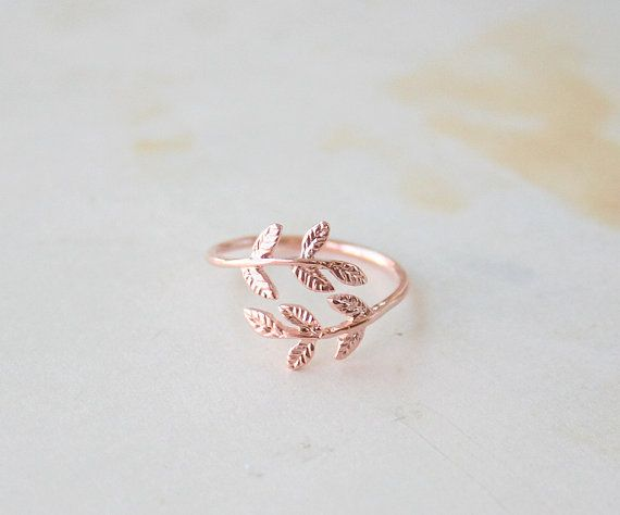 Rose Gold Delicate Laurel Leaf Ring, Laurel Leaves Ring, Adjustable Ring, Dainty Ring, Simple Ring, Everyday Ring, Tiny Ring, Gift Jewelry on Etsy, £6.87