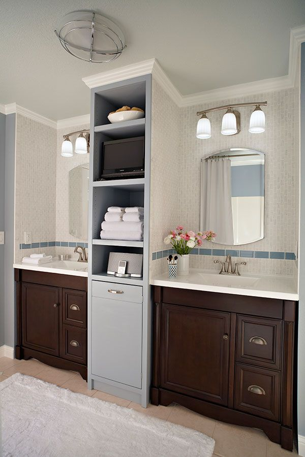 Separate vanities, roomy medicine cabinets, twin sinks, and functional lighting give both him and her their own individual space.