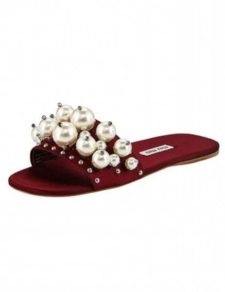 f4fbefad378 Pearly Embellished Satin Mule Slide