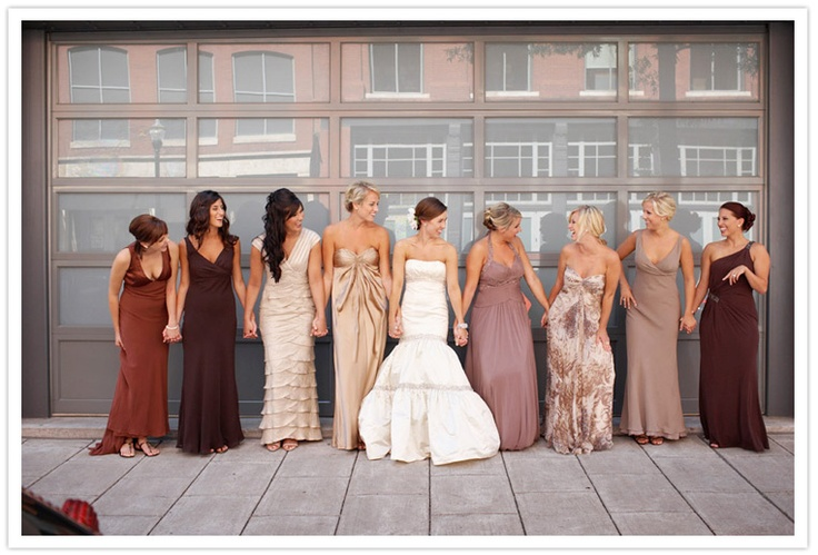 I like these colors: Bridesmaid Colors, Mixed Matching, Colors Palettes, Colors Schemes, Bridal Parties, Long Bridesmaid Dresses, The Dresses, Wedding Bridesmaid, Mismatched Bridesmaid