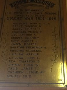 St Clair School brass Roll of Honour - Historypin   Walking with an Anzac