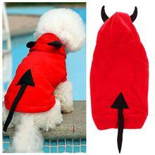 Red devil con cappuccio vestiti del cane per i cani inverno pelo animale domestico cucciolo costume inverno xmas halloween ropa para perros fen #(China (Mainland))