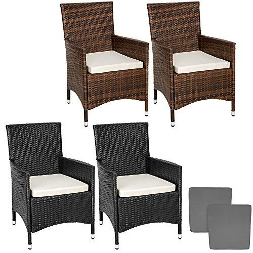 TecTake 2 x Poly rattan garden chairs ALUMINIUM FRAME armchair set   cushions   2 sets for exchanging the upholstery - different models -