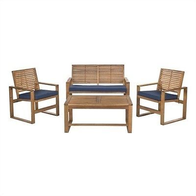 Safavieh Ozark Wood 4 Piece Set in Brown and Navy Transitional Outdoor Sofa