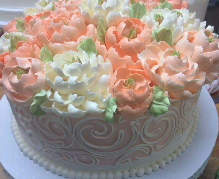 30 best spring cake images on pinterest flower cakes postres and white flower cake shoppe peachy buttercream mightylinksfo Image collections