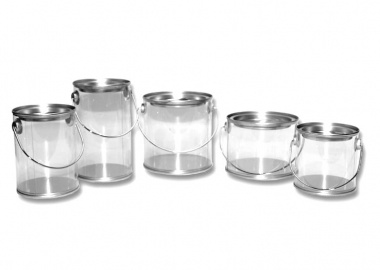Metal Clear Containers - With Slip Cover & Handle