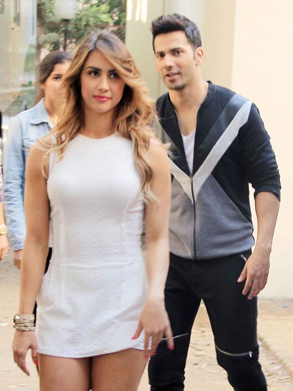 Varun Dhawan and his 'ABCD 2' co-star Lauren Gottlieb were spotted together at Mehboob Studio in Bandra. Check out their candid moments here.