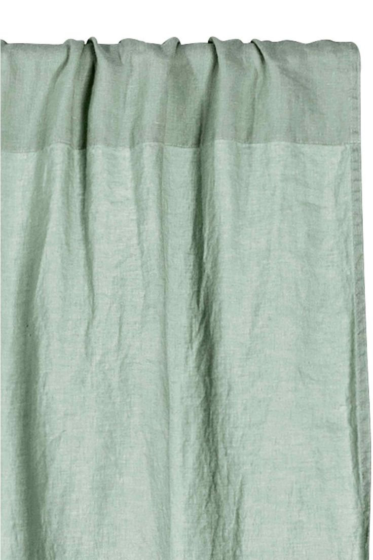 Washed linen curtain length - Dusky green - Home All | H&M