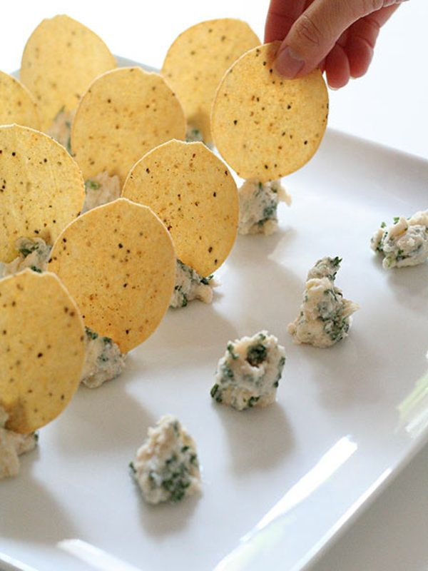 Easy Appetizer Idea. Mashed Potato & Mushrooms With Herbs & Decorate With Gourmet Potato Chips!