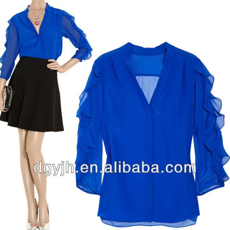 Moda gasa blusas elegante diseños 2014 / Sexy con cuello en V azul Tops y una blusa de seda de manga larga de la gasa blusas baratas-imagen-XL Falda-Identificación del producto:1026039788-spanish.alibaba.com