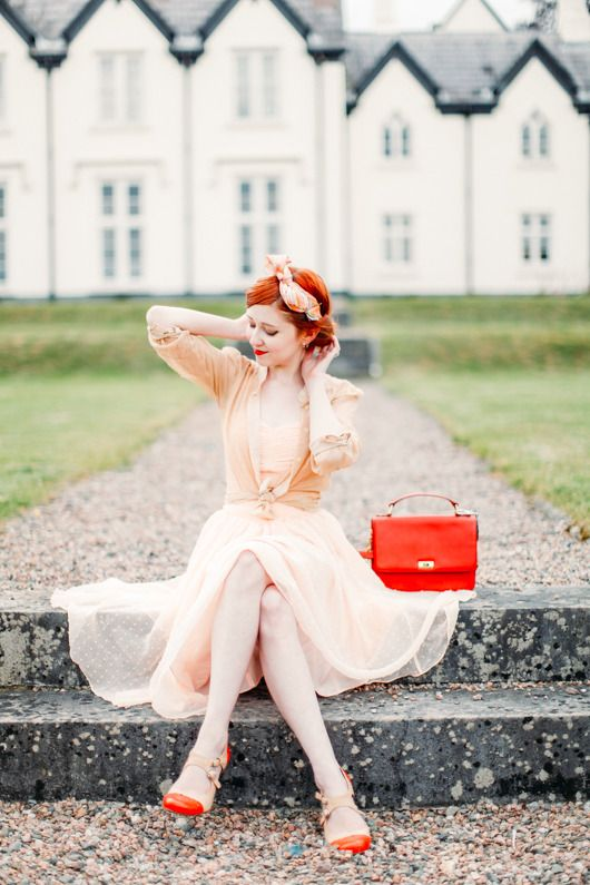 pin up style in pastel dress                              …