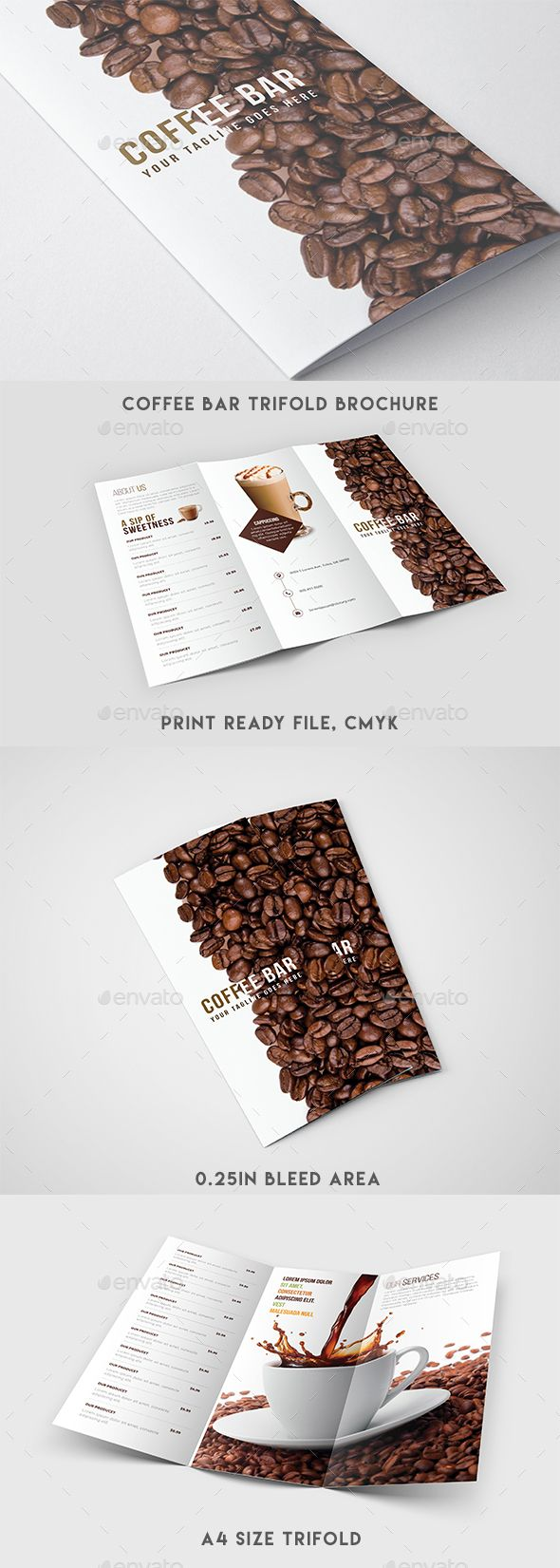 Trifold Brochure  Coffee Menu — Photoshop PSD #coffee promotion #coffee poster...