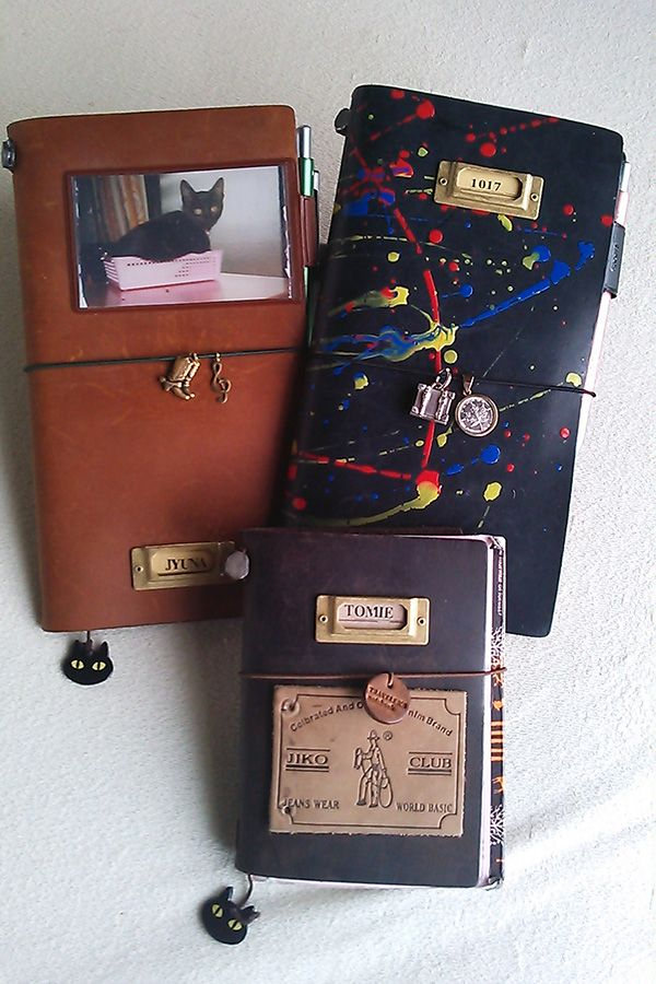 Midori Traveler's Notebook Charms and paint/add ons on leather