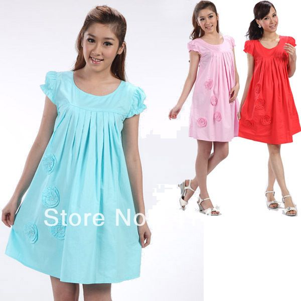 2013 Summer New Fashion Maternity Clothes Cotton Dress for the Pregnant Females Short Sleeve Flower Pleated Maternity Dresses XL