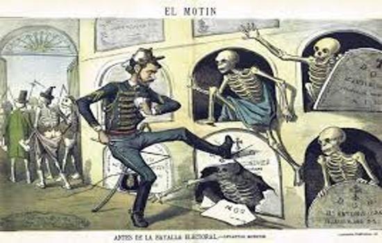 Corrupción política en España: Manipulación del censo electoral. Los muertos llamados a votar La flaca, siglo XIX. .