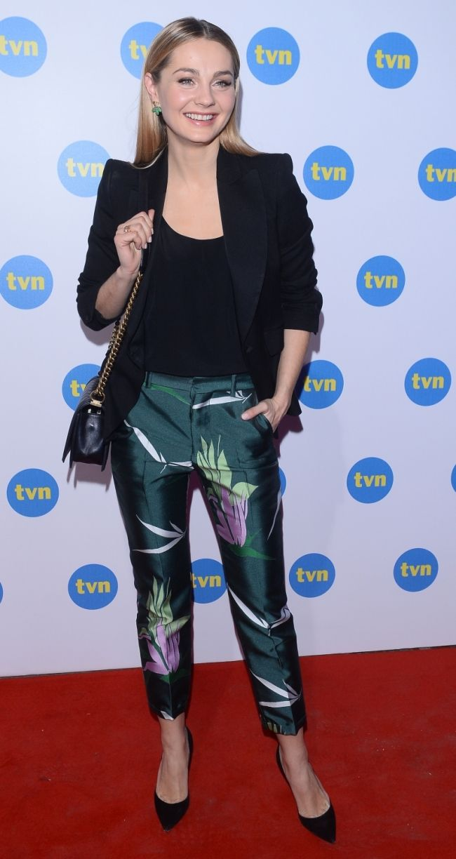Malgosia Socha in Marni floral pants, Chanel bag, Gianvito Rossi heels