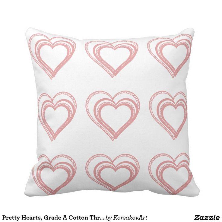 Pretty Hearts, Grade A Cotton Throw Pillow 16x16 #home #interior #valentines #love #decor #heart #design