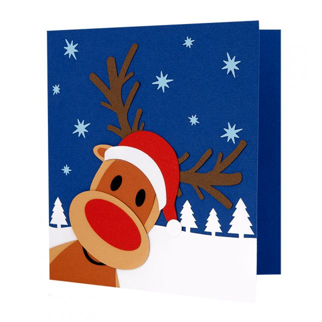 Felicitare Craciun cu model in forma de ren realizat din carton aplicat manual in multiple straturi #Christmas #Craciun #ChristmasCard
