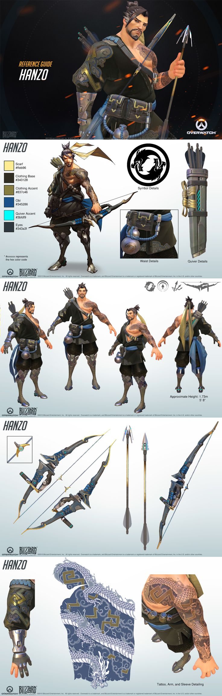 Character Design Chart : Overwatch hanzo reference guide character designs