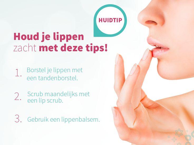 Iedereen heeft wel eens last van droge lippen. Vooral in de herfst en winter worden lippen gauw ruw en droog door de kou en grote temperatuurverschillen tussen binnen en buiten. Zachte lippen zijn onweerstaanbaar, het is daarom belangrijk ze goed te verzorgen. 1. Borstel wekelijks met een tandenborstel je lippen om dode huidcellen te verwijderen. 2. Scrub je lippen regelmatig met een lip scrub. 3. Gebruik een lippenbalsem met zonnefactor en Vitamine E.
