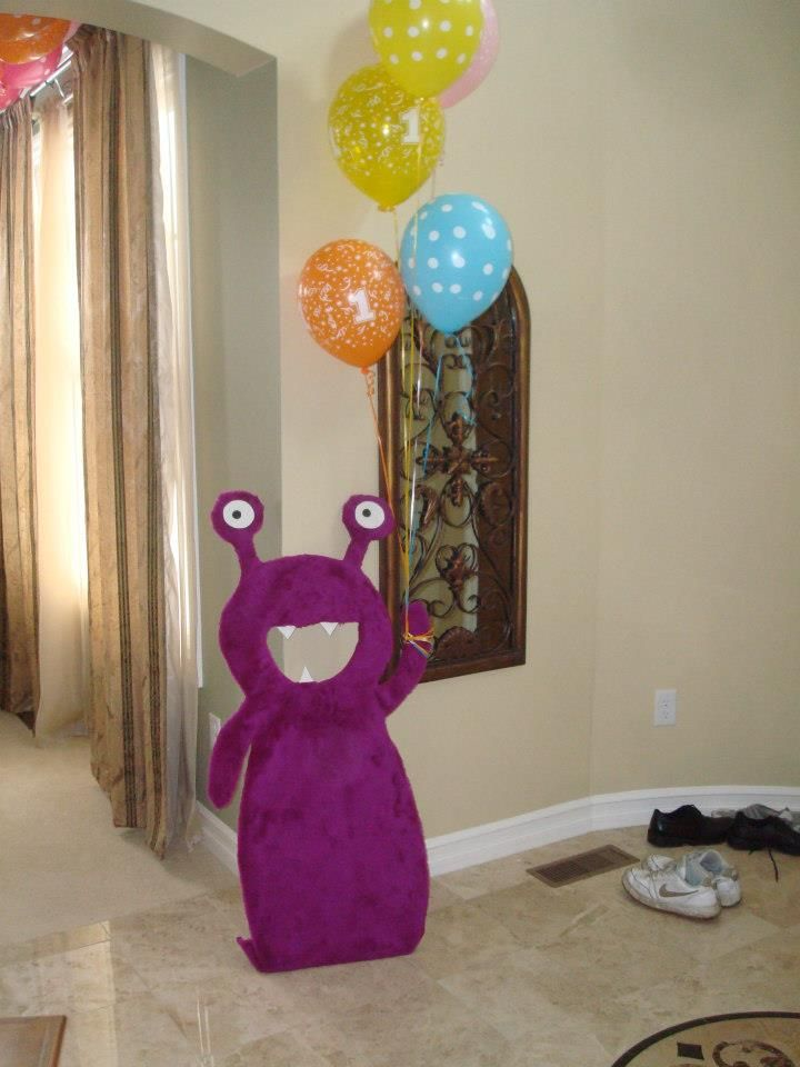 Monster Birthday Party - balloon holder - gift table decor