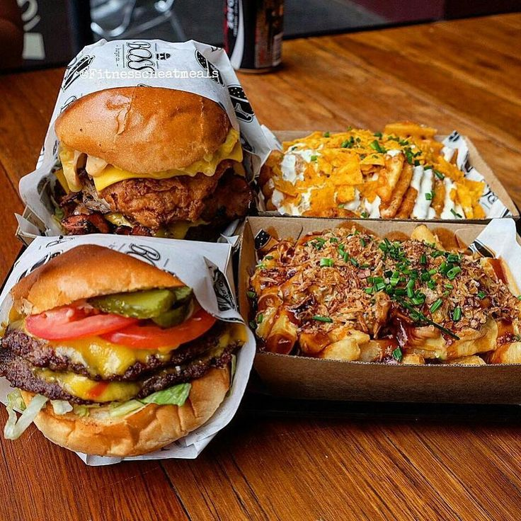 Who's up for a burger and some pulled pork fries? That's right! Pulled pork French fries! . Credit to @fitnesscheatmeals : Fitting this insane spread from @bossburgerco The modified 'Boss Deluxe' Double Beef Patty Double Southern Fried Chicken Loose Mac and Cheese Double Bacon and Double Cheese Burger the modified 'The Boss' Double Beef Double Cheese and them fresh salads The Loaded Nacho Waffle Fries and The Loaded Dirty Dingo Pulled Pork Fries! Everything was outstanding and on point…