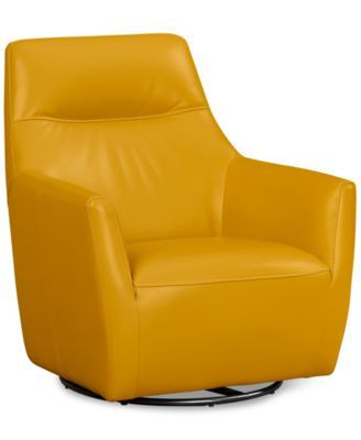 Ticino Leather Swivel Chair, Only at Macy's | macys.com