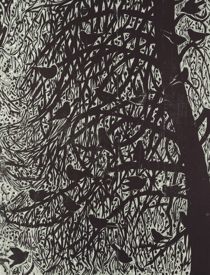 Midnight Gathering 32 X 24 Color Woodcut By Kent Ambler