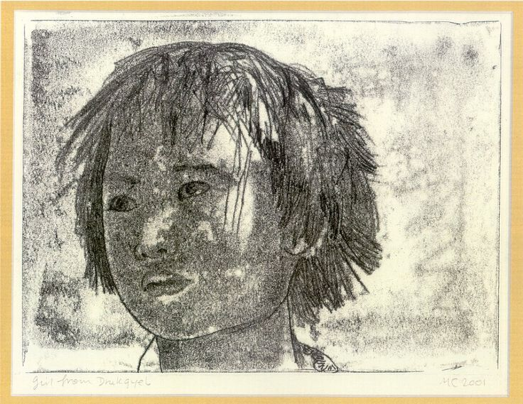 merlyn chesterman monoprints - girl from Drukgyel 2001