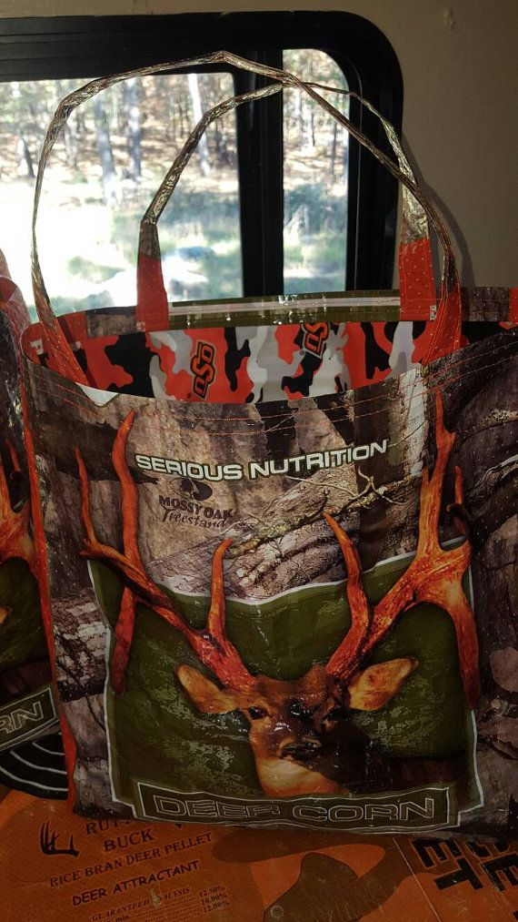 Recycled Camo Deer Corn Feed sack w/a big buck by THELUCKY13CRAFTS