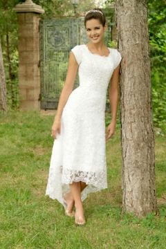 Tea-length White Bridal Gown in Charming Lace with Asymmetrical Hem