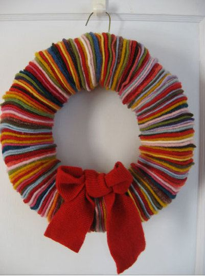 wreath made from felted sweaters