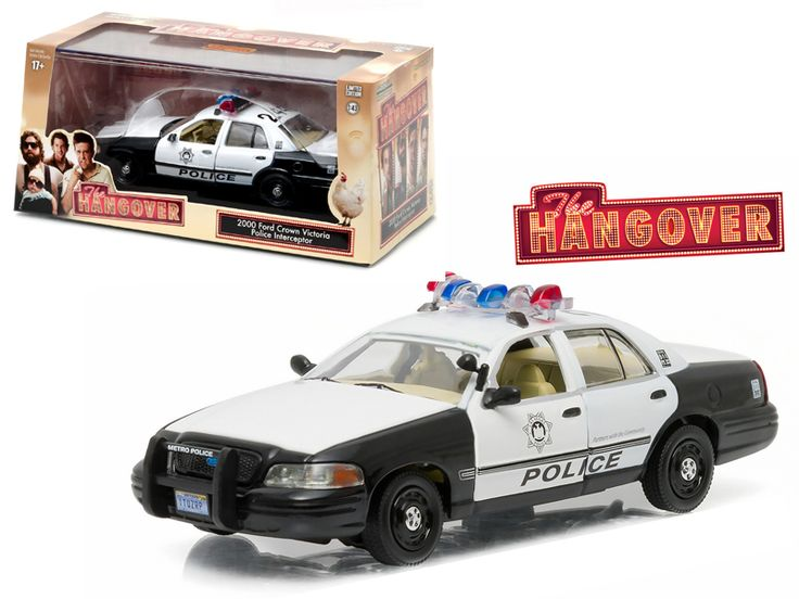 """2000 Ford Crown Victoria Police Interceptor """"The Hangover"""" (2009 ) Movie 1/43 Diecast Model Car by Greenlight - Brand new 1:43 scale diecast car model of 2000 Ford Crown Victoria Police Interceptor """"The Hangover"""" (2009 ) Movie die cast car model by Greenlight. Rubber tires. Brand new box. Limited Edition. Has steerable wheels. Opening doors, hood, and trunk. Detailed interior, exterior. Comes in plastic display showcase. Dimensions approximately L-5 inches long.-Weight: 1. Height: 5. Width…"""