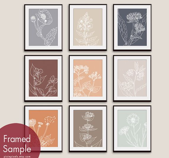 Wild Flowers Botanical Sketches (Series K) - Set of 9 - Art Prints (Featured in Assorted Colors)    Colors Starting from Top Left to Bottom Right