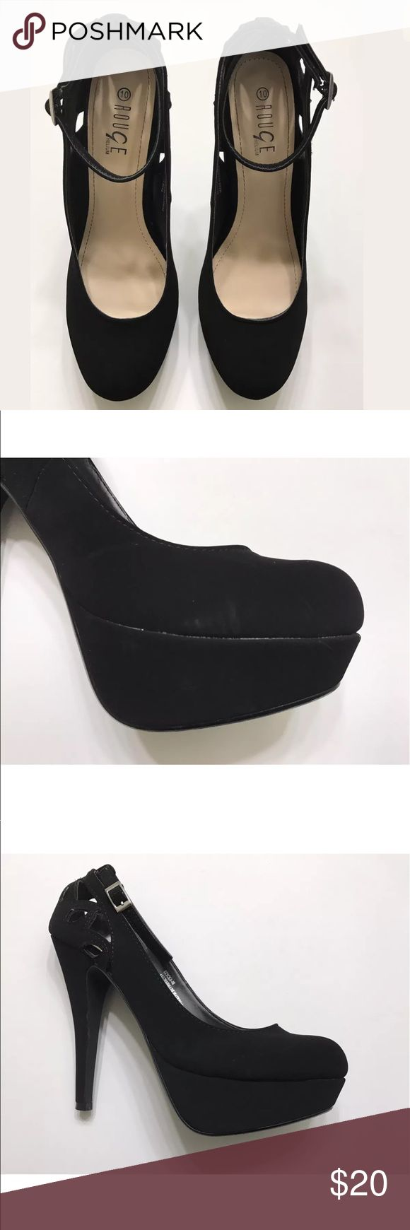 Rouge Helium  Size 10 High Stiletto Platform Pumps Ankle strap  Back design  Platform 1.5inches  Heel height 5.5inches  Small side scuff Synthetic suede Rouge Helium Shoes Heels