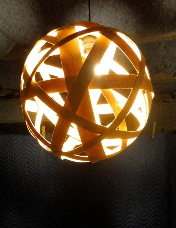 Wood veneer pendant lamp