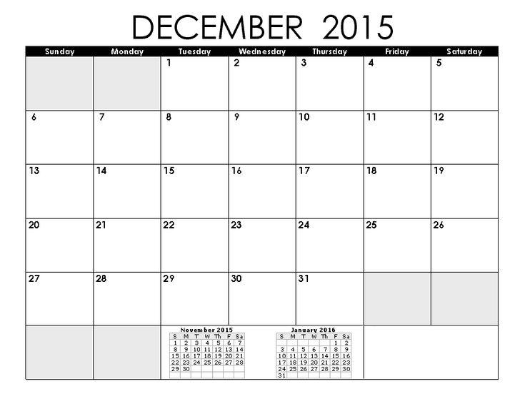 Blank Calendar Pages 2015 December
