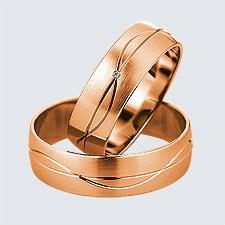 Verighete din aur roz cu design modern. Pot fi realizate din aur alb, aur galben sau aur roz. La cerere sunt posibile şi alte modificări.