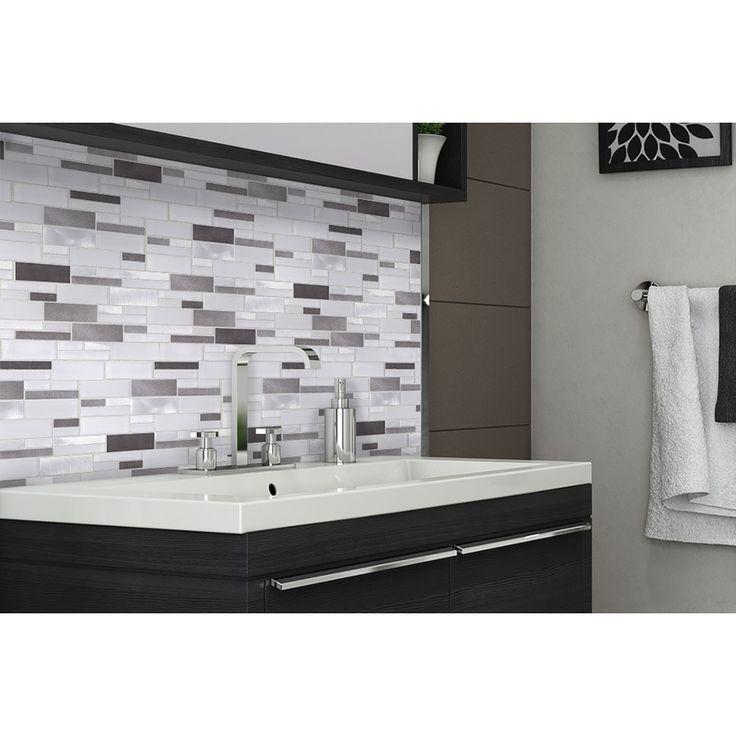 Mineral Tiles - Aluminum Glass Tile Backsplash Ice Blend, $18.95 (http://www.mineraltiles.com/aluminum-glass-tile-backsplash-ice-blend/)
