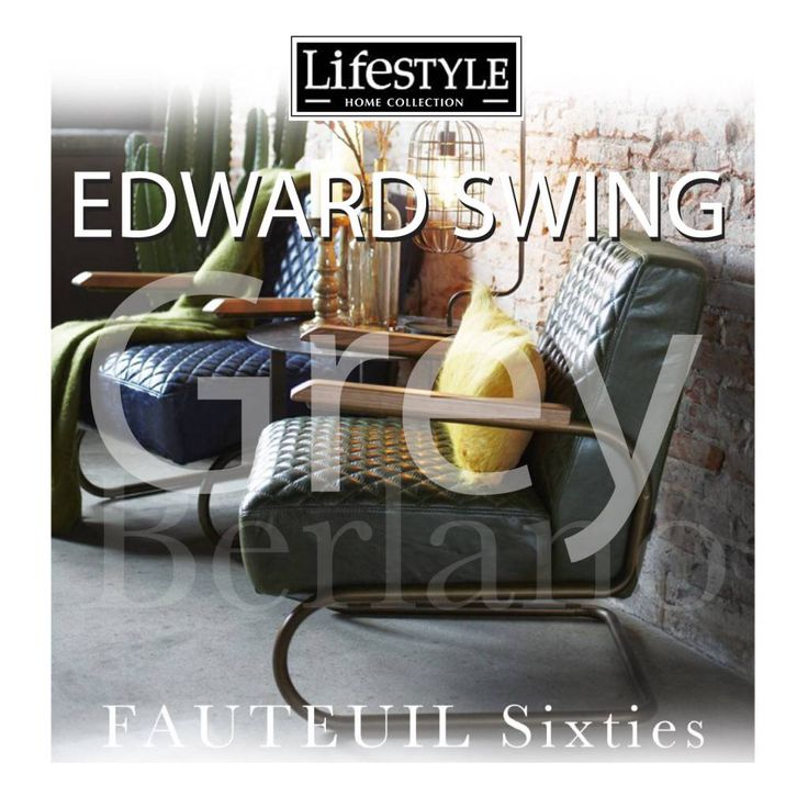 Stoel #EDWARD SWING ARM CHAIR van Lifetyle in Grey Green Blue en Green. SIXTIES leren stiel Edward swing #Lifestyle94