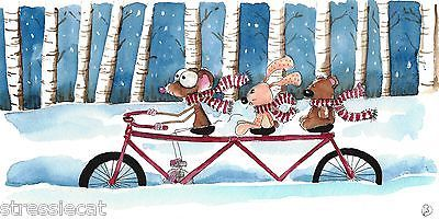 Original Watercolor Painting Christmas Mouse Teddy Bunny Red Bicycle Snow Travel | eBay